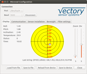 Microrad subsea tilt sensor / inclinometer configuration program data page screenshot